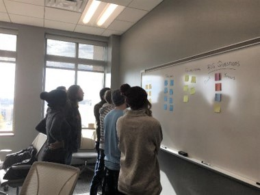 Students standing in front of a white board looking at post-its from a training session and considering what was written on the notes.