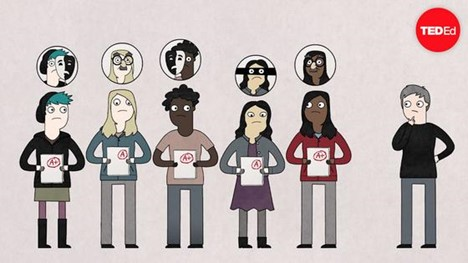 Screen capture from animated video showing people standing in a row holding graded papers with letter grades on them.