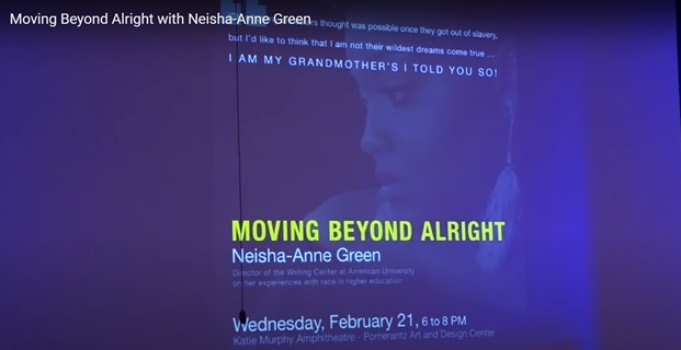 """Screen capture of image of a woman with title of talk, """"Moving Beyond Alright"""" Neisha-Anne Green superimposed over the image. The color of the slide background is purple."""